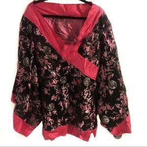 Geisha Girl Kimono Top Costume Flower Pattern
